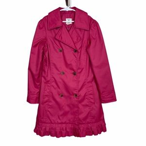 Land's End Double Breasted Trench Coat Pink Small